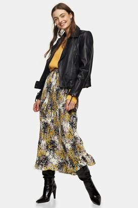 Topshop Multi Floral Tie Pleated Midi Skirt
