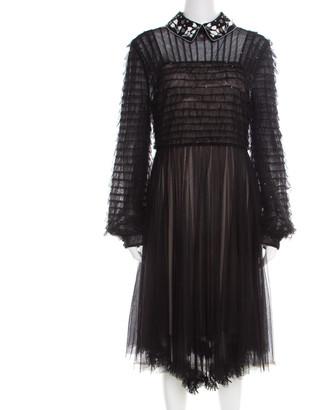 Valentino Black and Beige Embellished Ruffled Bodice Detail Dress S