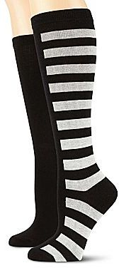JCPenney 2-pk. Solid and Striped Knee Socks