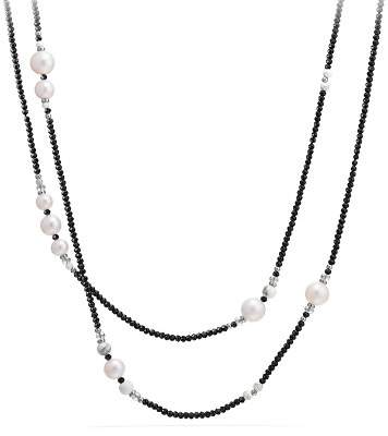 David Yurman Oceanica Tweejoux Necklace with Cultured Freshwater Pearls and Black Spinel