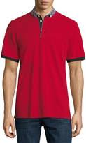 Maceoo Plaid-Trim Polo Shirt, Dark Red