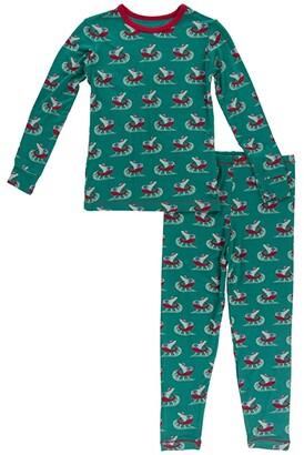 Kickee Pants Kids Long Sleeve Pajama Set (Toddler/Little Kids/Big Kids) (Candy Cane Stripe) Kid's Pajama Sets