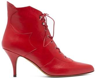 Tabitha Simmons Zora Leather Lace-up Boots - Womens - Red