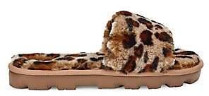 UGG Women's Cozette Leopard-Print Sheepskin Slides Sandals