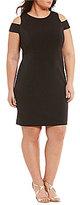 Vince Camuto Plus Boat Neck Short Sleeve Cold-Shoulder Solid Sheath Dress