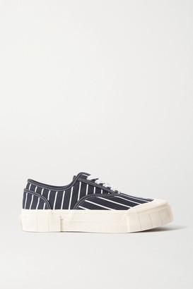 Good News + Net Sustain Hurler Pinstriped Organic Cotton-canvas Sneakers - Navy