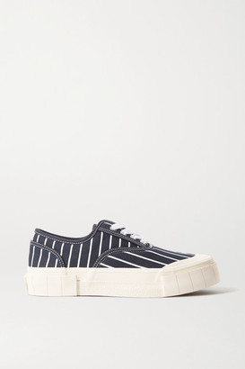 Good News + Net Sustain Hurler Pinstriped Organic Cotton-canvas Sneakers