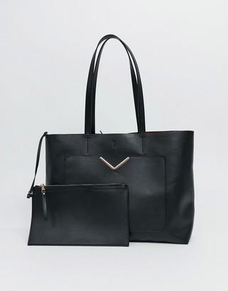 Asos Design DESIGN hardware pocket shopper with removable clutch bag-Black
