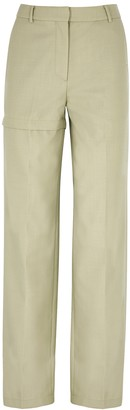 pushBUTTON Light Green Wool-blend Trousers