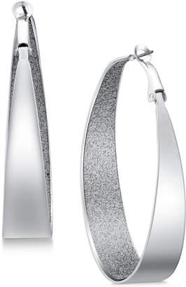 """GUESS 2"""" Large Inner Glitter Hoop Earrings"""
