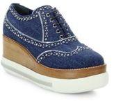 Miu Miu Studded Denim Platform Sneakers