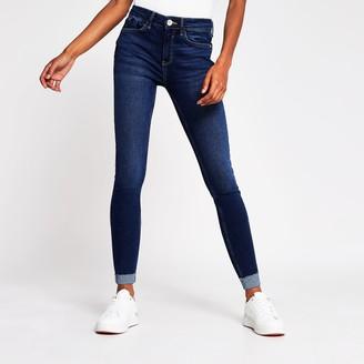 River Island Womens Blue Amelie turn up hem skinny jeans