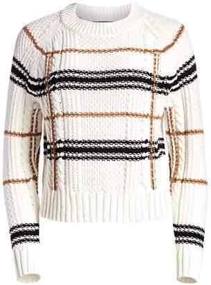 360 Cashmere Ella Plaid Crop Sweater