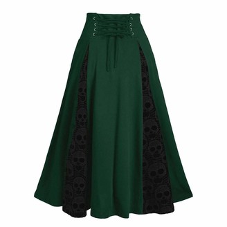Celucke Women's Plus Size Lace Patchwork Midi Skirt High Waist Gothic Pleated Skirt Green