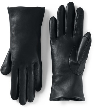 Lands' End Women's Touch Screen Compatible Leather Gloves with Cashmere Lining