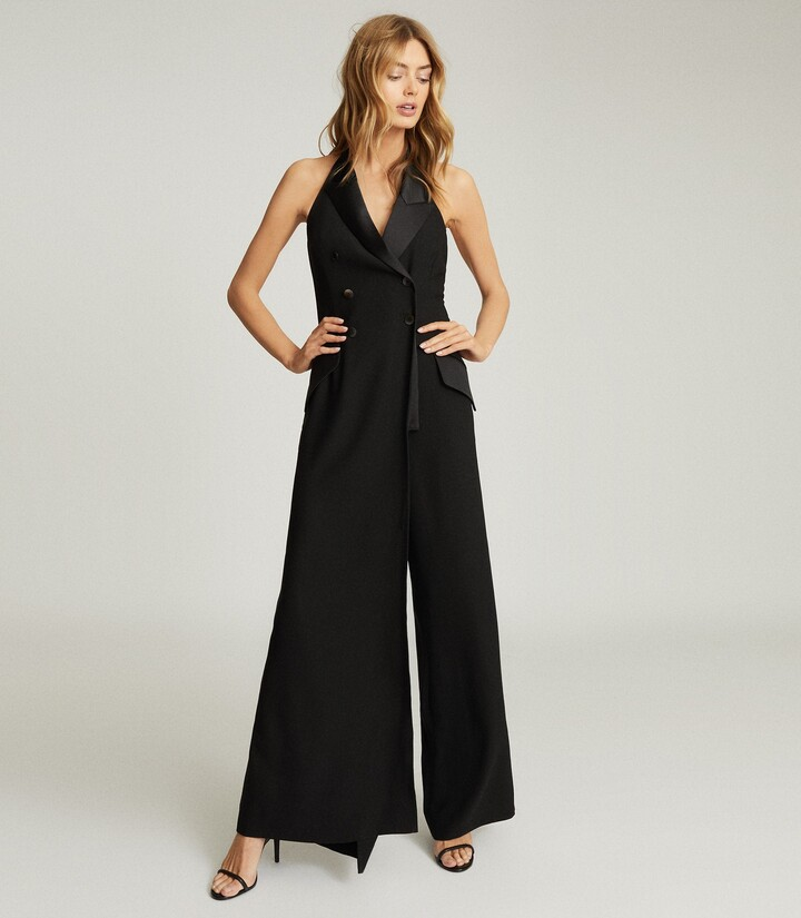 Thumbnail for your product : Reiss Annie - Tuxedo Front Jumpsuit in Black