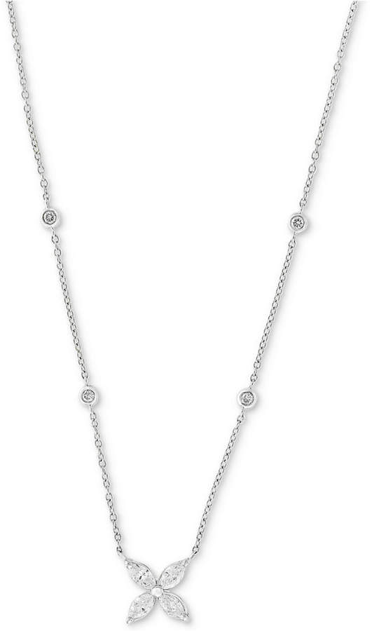 "Effy Diamond 18"" Pendant Necklace (1/2 ct. t.w.) in 14k White Gold"