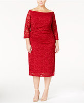 INC International Concepts Plus Size Off-The-Shoulder Lace Sheath Dress, Only at Macy's