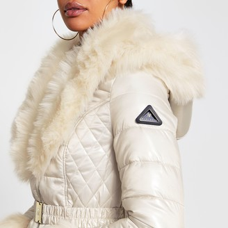 River Island Womens Cream faux fur hem fitted padded coat