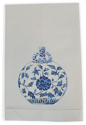 Blue & White Jar Guest Towel - White - The French Bee
