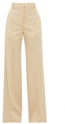 Stella McCartney High-rise Tailored Wool Wide-leg Trousers - Womens - Ivory