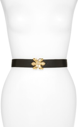 Raina Double Bee Clasp Leather Belt