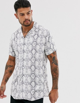 Jack and Jones snake print revere collar shirt in white
