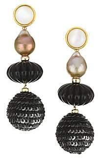 Lizzie Fortunato Women's Masquerade Ball 18K Goldplated 12mm Freshwater Pearl Beaded Drop Earrings