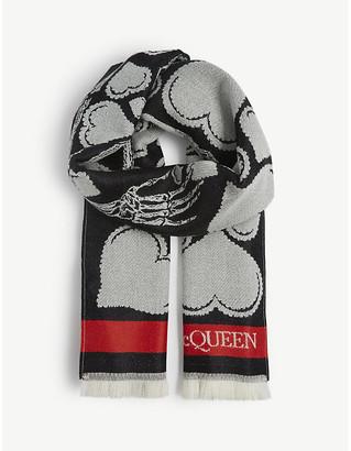 Alexander McQueen Skull-motif wool scarf