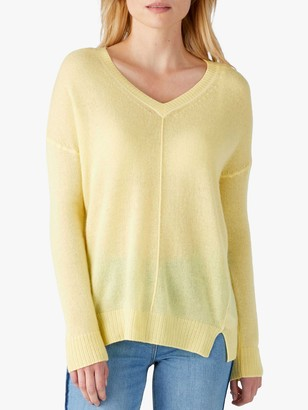 Pure Collection V-Neck Sweater, Soft Daffodil