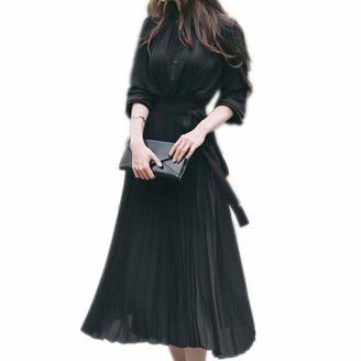 Your New Look Women's Elegant Plain Color Half Sleeve Belted Pleated Dress with Buttons Casual Self Tie Maxi Flare Dress for Work Vacation Black