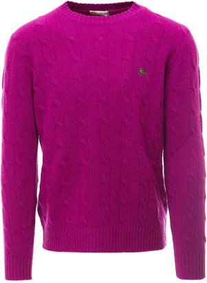 Etro Logo Embroidered Cable Knit Sweater