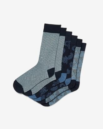Express 3 Pack Navy Printed Dress Socks
