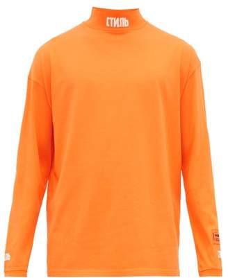Heron Preston Logo Embroidered Cotton Long Sleeved T Shirt - Mens - Orange