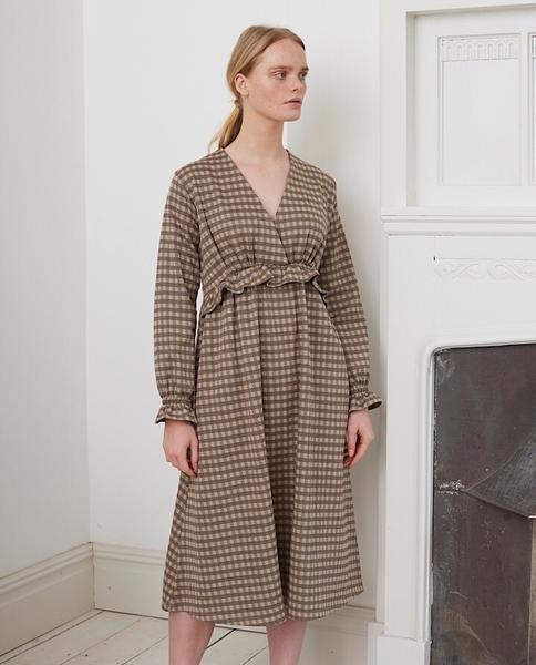 Beaumont Organic Inez Jay Organic Cotton Dress In Mini Brown Check - Mini Brown Check / Extra Small