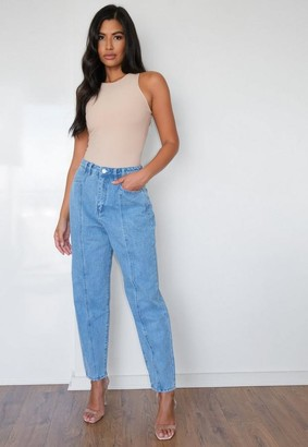 Missguided Blue Wide Leg Tapered Seam Detail Jeans