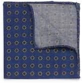 Lardini Floral print wool herringbone pocket square