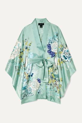 MENG Floral-print Silk-satin Robe - Teal
