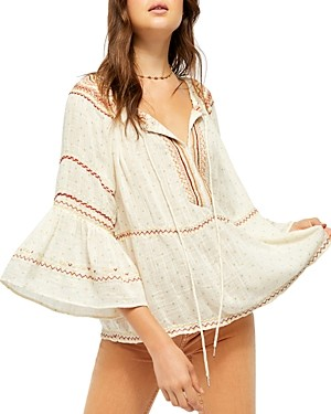 Free People Talia Embroidered Bell-Sleeve Top