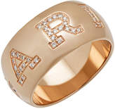 Bvlgari 18k Rose Gold Monologo Diamond Band Ring, Size 7