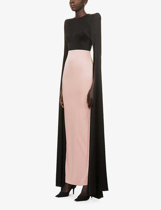 Alex Perry Julian cape-sleeve colour-block satin gown