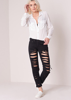 Missy Empire Aaliyah Black Ripped Skinny Jeans