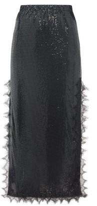 Christopher Kane Lace-trim Chainmail Midi Skirt - Womens - Black
