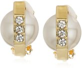 T Tahari Silver Pearl Dome Crystal Clip-On Earrings