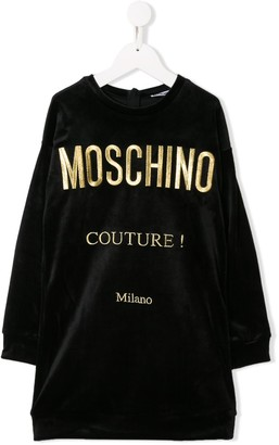MOSCHINO BAMBINO Embroidered Logo Sweatshirt Dress
