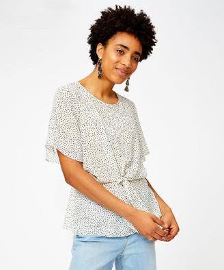 Minna Women's Blouses Color - White & Black Pin Dot Tie-Front Top - Women & Plus