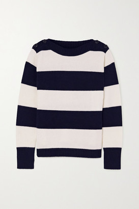 Max Mara Button-embellished Striped Wool And Cashmere-blend Sweater - Ivory