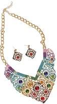 Generic Vintage Retro Ethnic Style Statement Necklace Earrings Set Jewellery Set