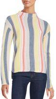 Saks Fifth Avenue Striped Long Sleeve Hi-Lo Sweater