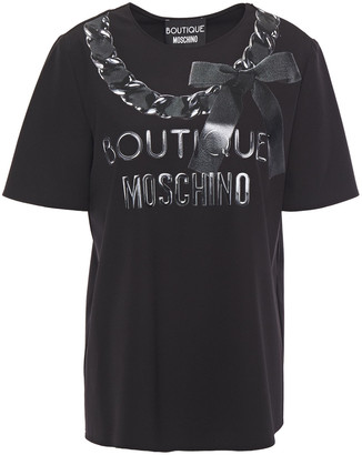 Boutique Moschino Metallic Logo-print Stretch-crepe T-shirt